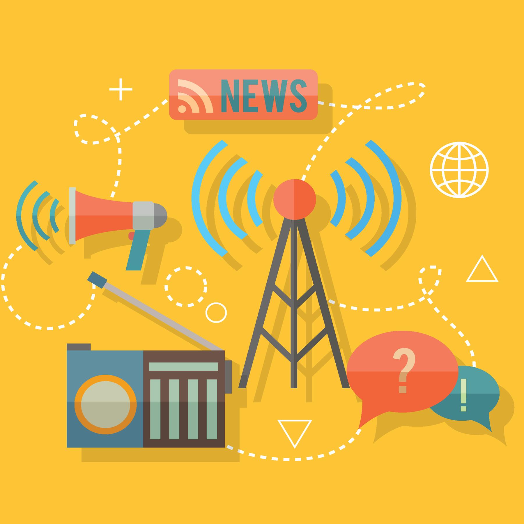 News broadcast on radio and megaphone